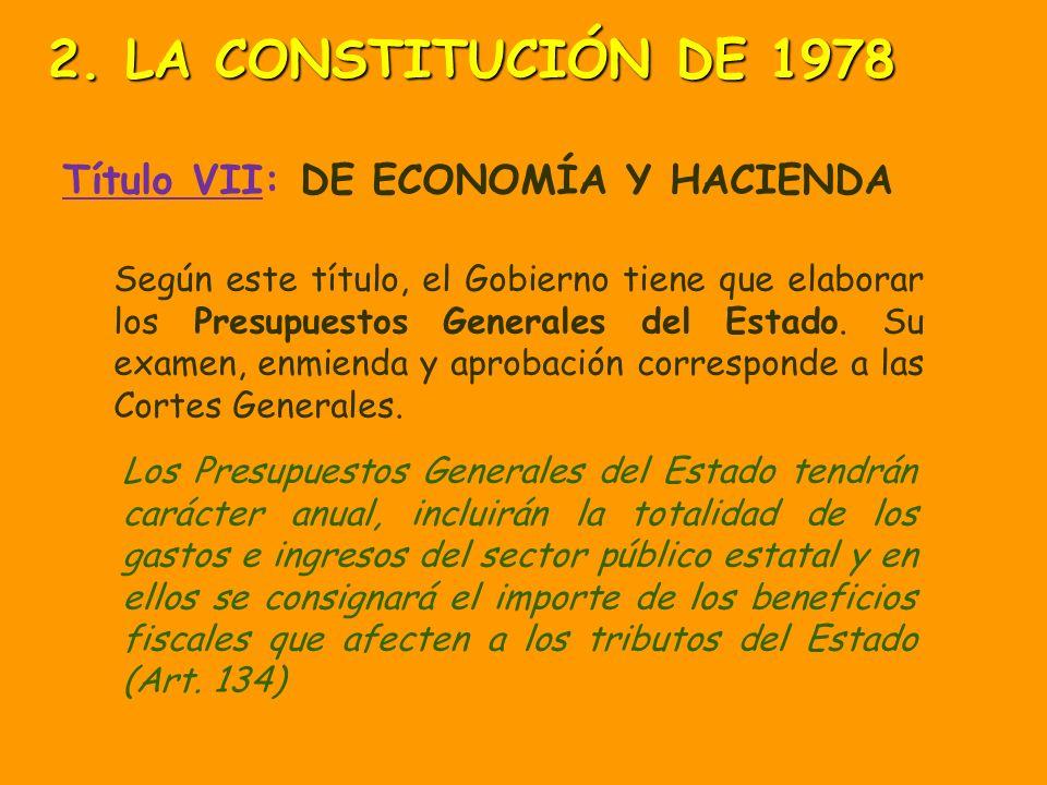 2. LA CONSTITUCIÓN DE 1978 Título VII: DE ECONOMÍA Y HACIENDA