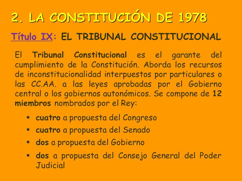2. LA CONSTITUCIÓN DE 1978 Título IX: EL TRIBUNAL CONSTITUCIONAL