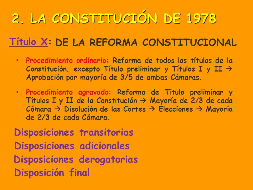 2. LA CONSTITUCIÓN DE 1978 Título X: DE LA REFORMA CONSTITUCIONAL