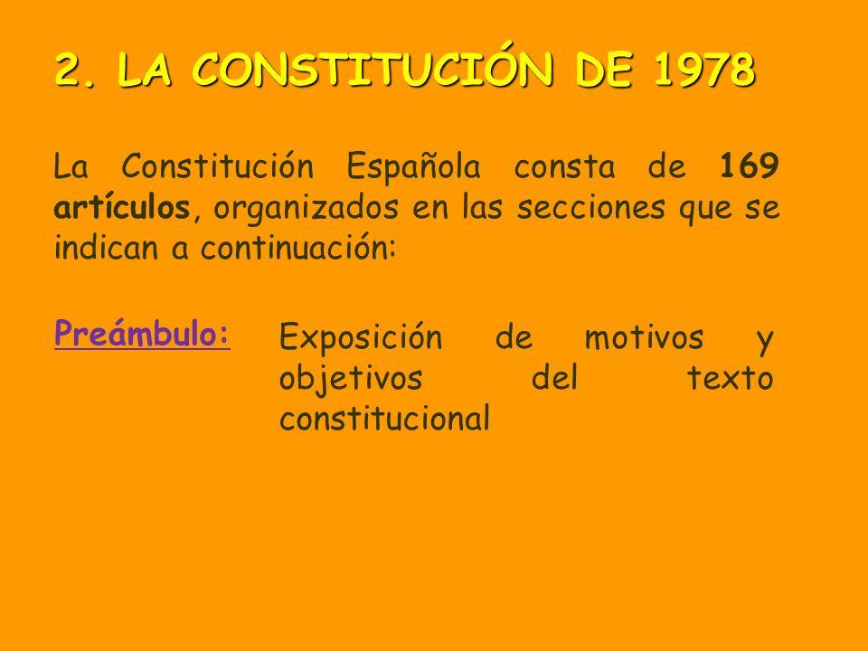 2. LA CONSTITUCIÓN DE 1978 La Constitución Española consta de 169 artículos, organizados en las secciones que se indican a continuación: