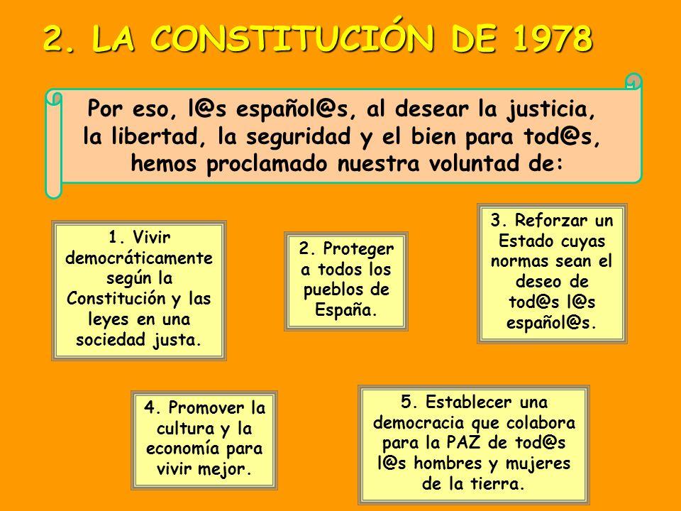 2. LA CONSTITUCIÓN DE 1978Por eso, l@s español@s, al desear la justicia, la libertad, la seguridad y el bien para tod@s,