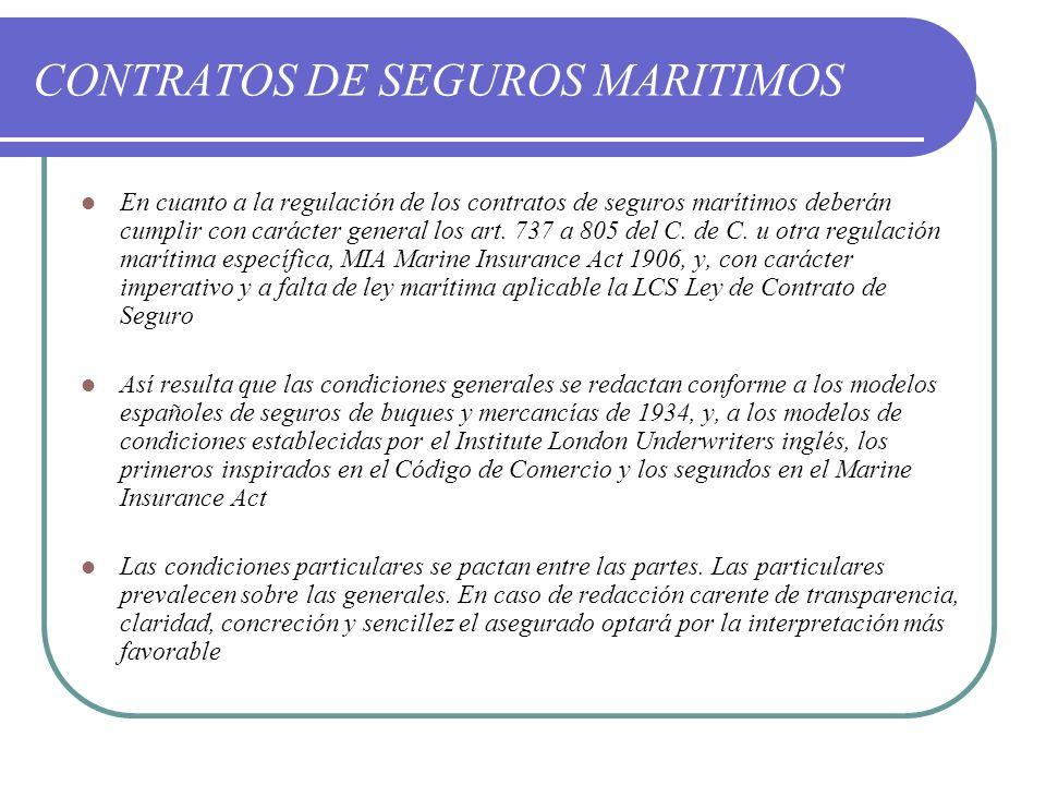 CONTRATOS DE SEGUROS MARITIMOS