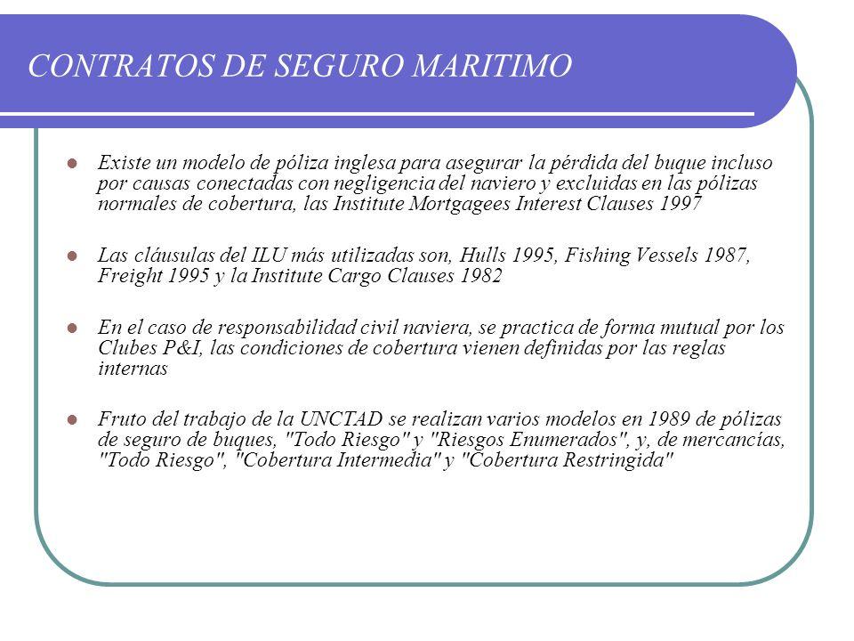 CONTRATOS DE SEGURO MARITIMO
