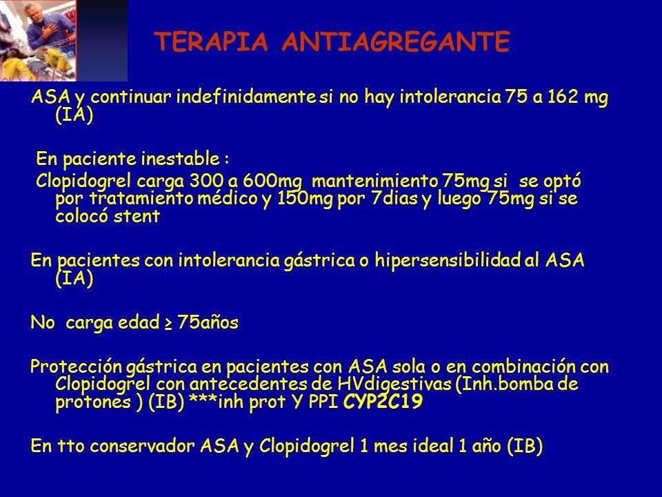 TERAPIA ANTIAGREGANTE