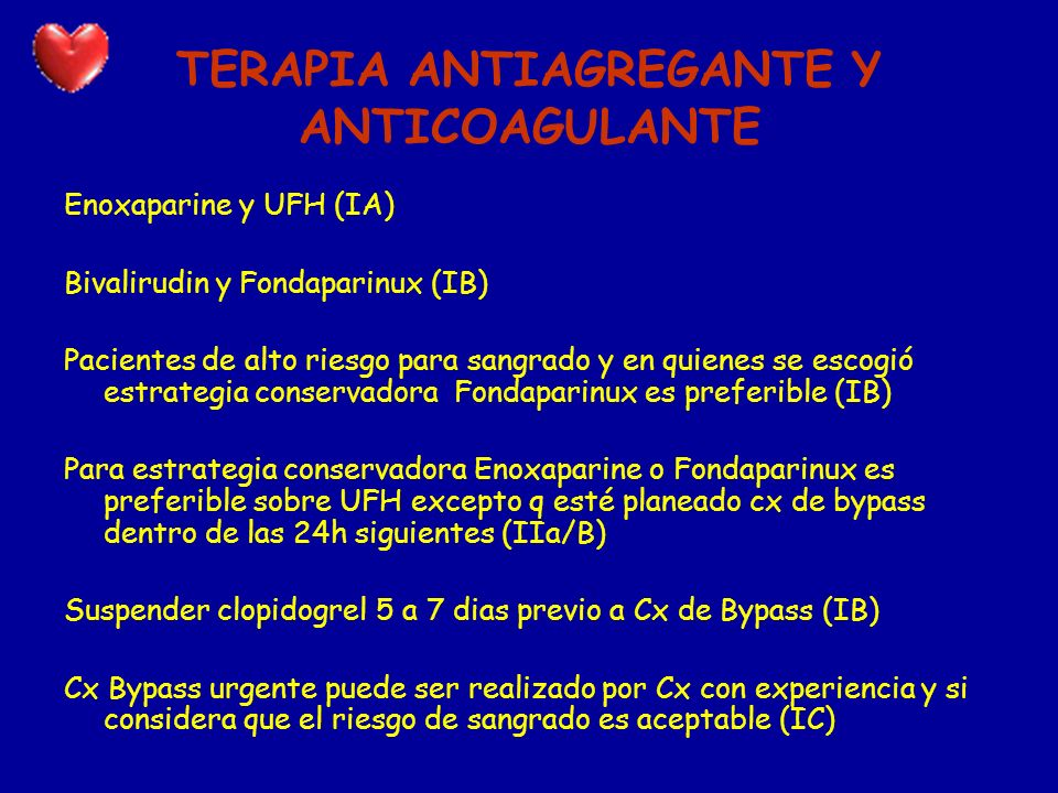 TERAPIA ANTIAGREGANTE Y ANTICOAGULANTE