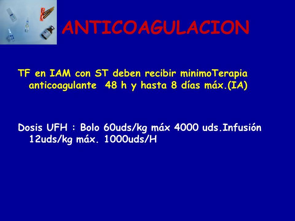 ANTICOAGULACIONTF en IAM con ST deben recibir minimoTerapia anticoagulante 48 h y hasta 8 días máx.(IA)