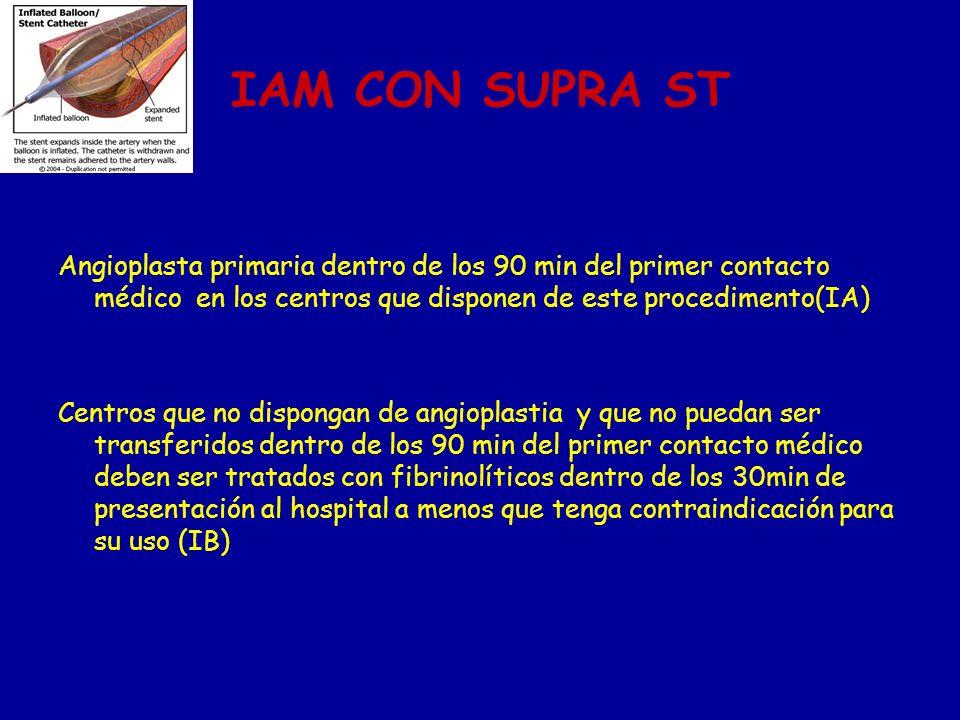 IAM CON SUPRA ST Angioplasta primaria dentro de los 90 min del primer contacto médico en los centros que disponen de este procedimento(IA)
