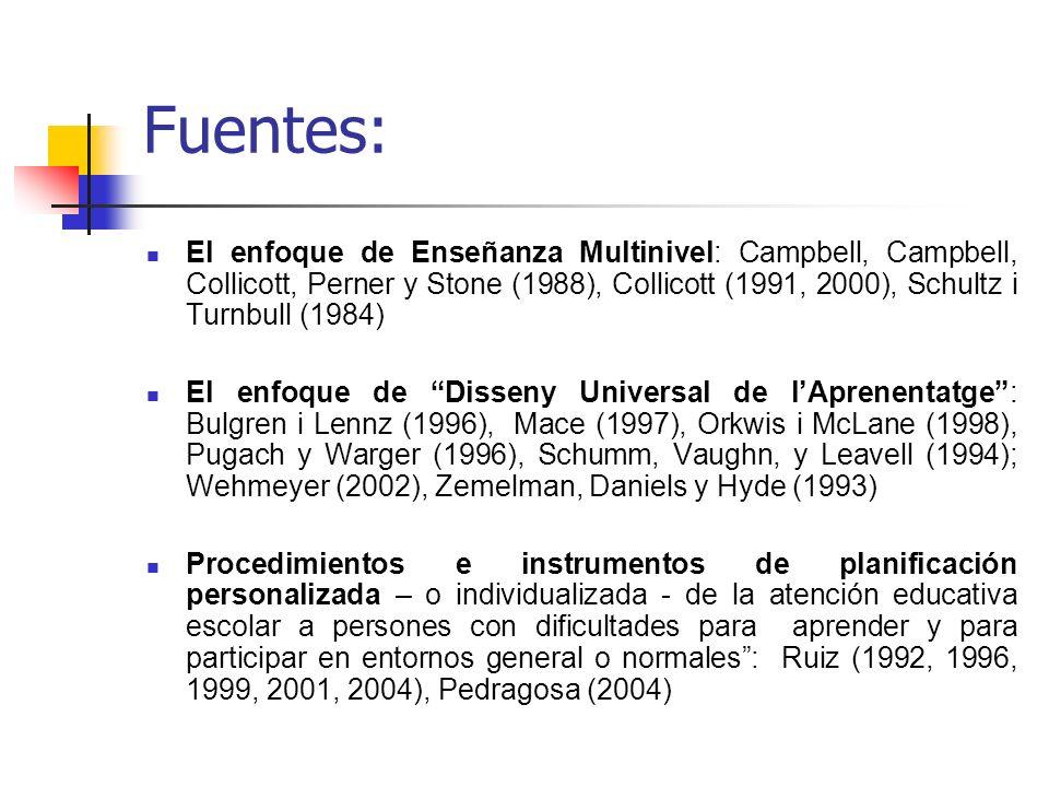 Fuentes:El enfoque de Enseñanza Multinivel: Campbell, Campbell, Collicott, Perner y Stone (1988), Collicott (1991, 2000), Schultz i Turnbull (1984)