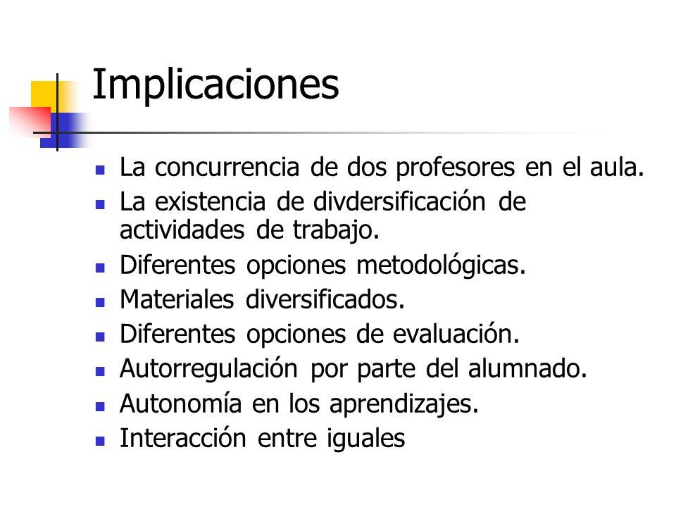 Implicaciones La concurrencia de dos profesores en el aula.