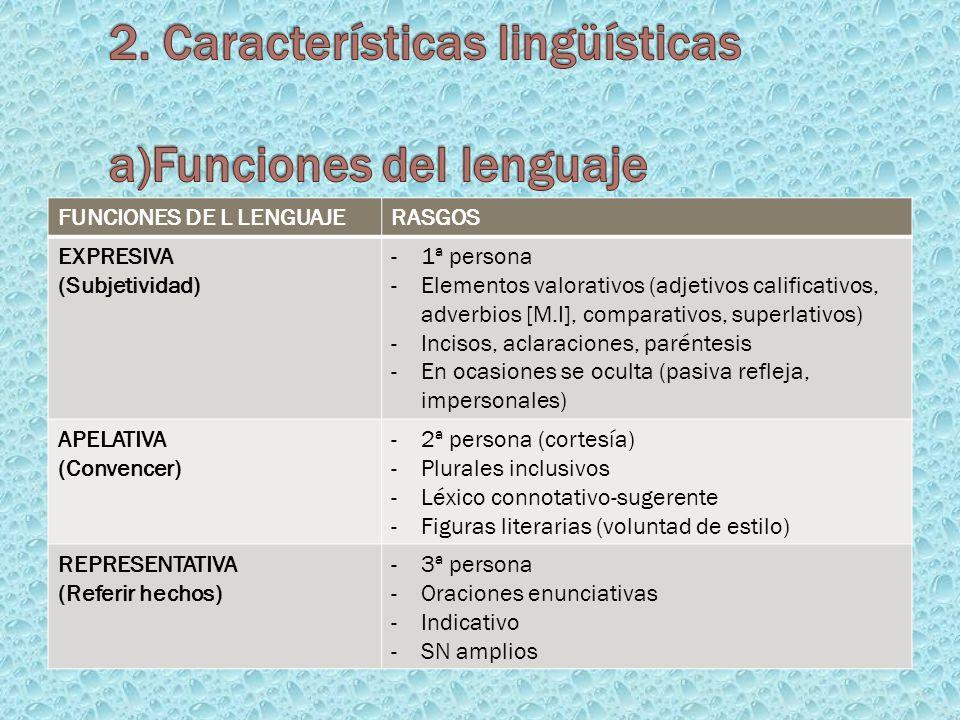 2. Características lingüísticas a)Funciones del lenguaje