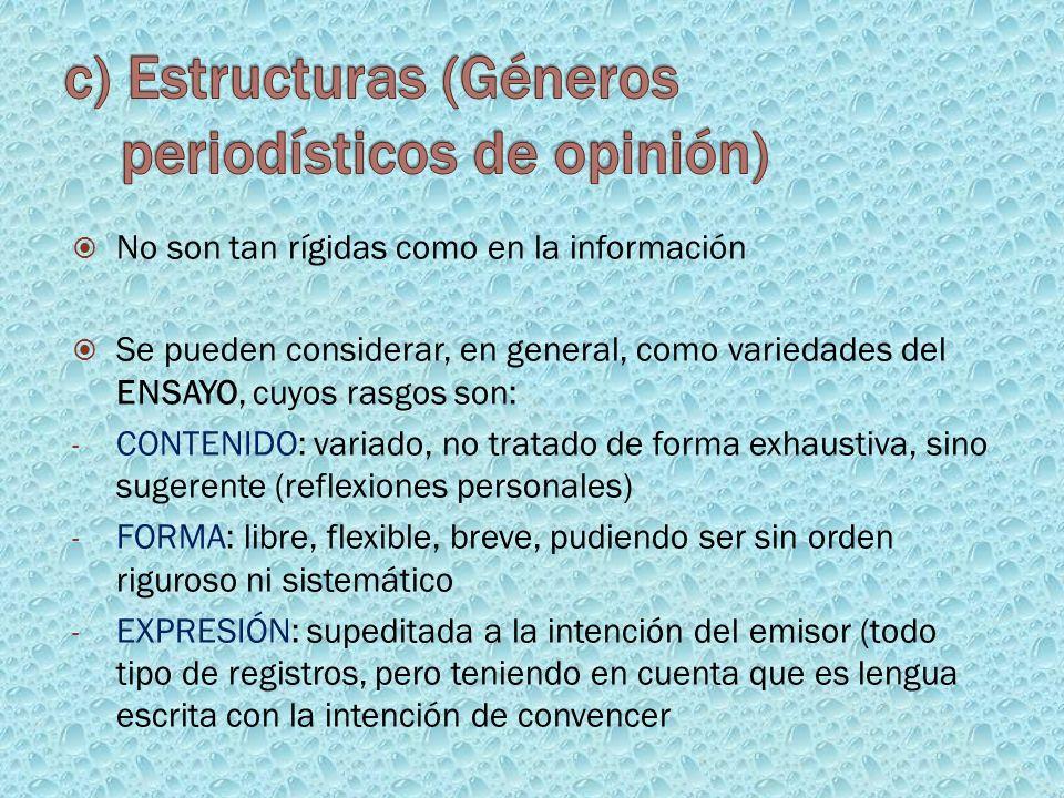 c) Estructuras (Géneros periodísticos de opinión)