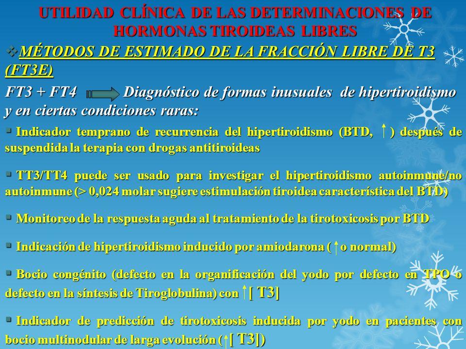 UTILIDAD CLÍNICA DE LAS DETERMINACIONES DE HORMONAS TIROIDEAS LIBRES