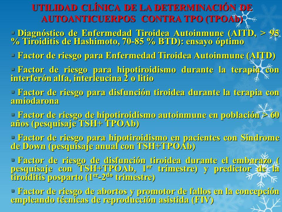 UTILIDAD CLÍNICA DE LA DETERMINACIÓN DE AUTOANTICUERPOS CONTRA TPO (TPOAb)