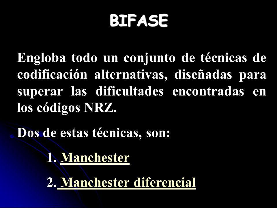 BIFASE Engloba todo un conjunto de técnicas de codificación alternativas, diseñadas para superar las dificultades encontradas en los códigos NRZ.