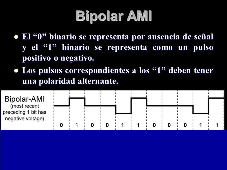 Bipolar AMIEl 0 binario se representa por ausencia de señal y el 1 binario se representa como un pulso positivo o negativo.
