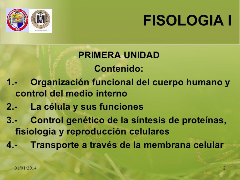 FISOLOGIA I PRIMERA UNIDAD Contenido: