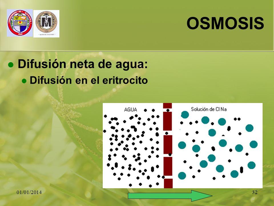 OSMOSIS Difusión neta de agua: Difusión en el eritrocito 23/03/2017