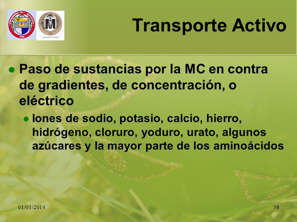 Transporte Activo Paso de sustancias por la MC en contra de gradientes, de concentración, o eléctrico.