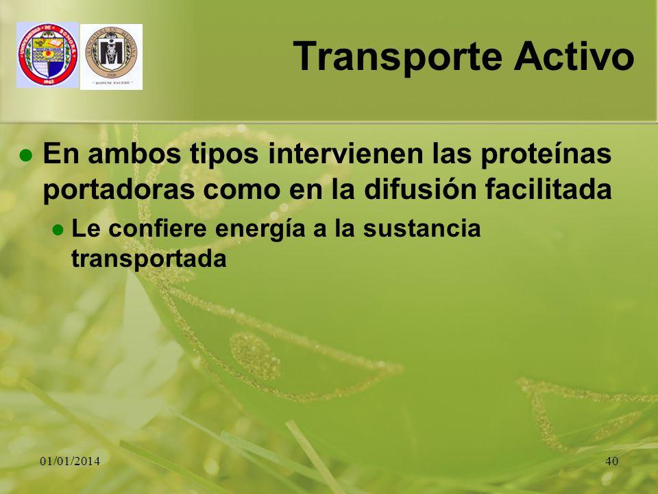 Transporte Activo En ambos tipos intervienen las proteínas portadoras como en la difusión facilitada.