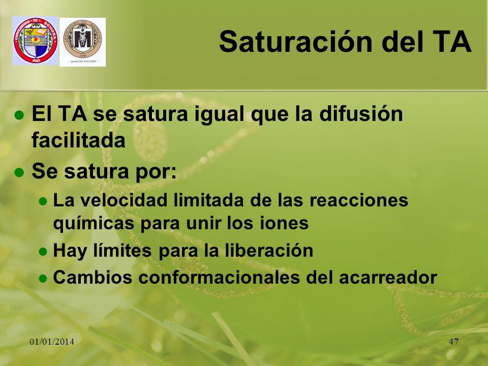 Saturación del TA El TA se satura igual que la difusión facilitada