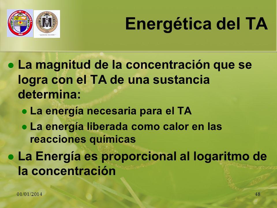 Energética del TA La magnitud de la concentración que se logra con el TA de una sustancia determina: