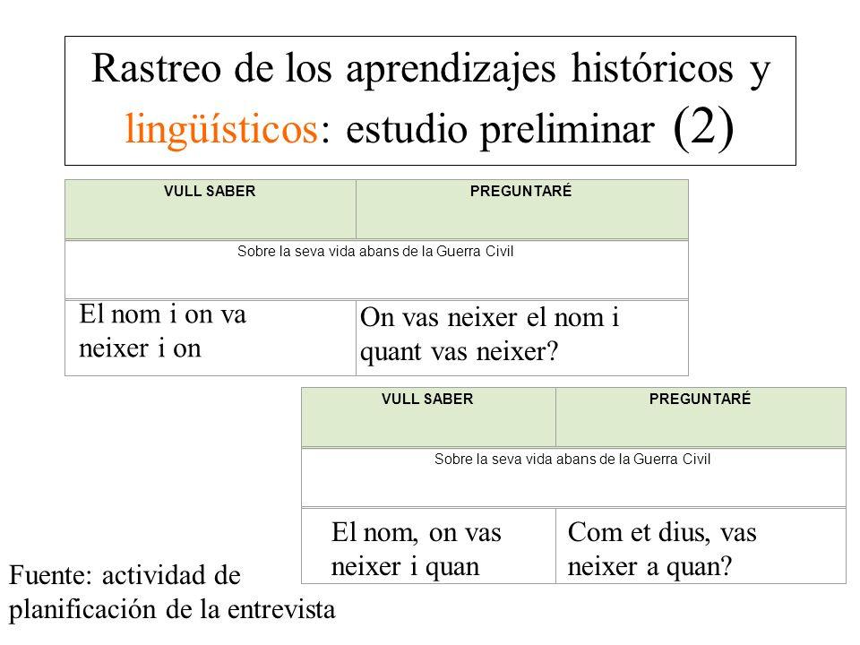 Rastreo de los aprendizajes históricos y lingüísticos: estudio preliminar (2)