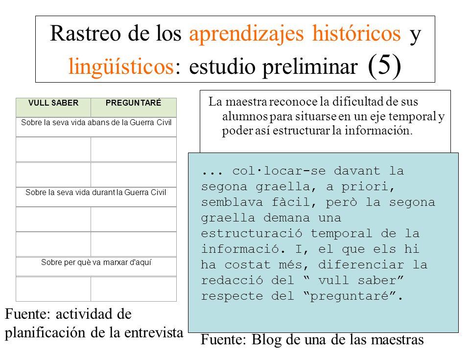 Rastreo de los aprendizajes históricos y lingüísticos: estudio preliminar (5)