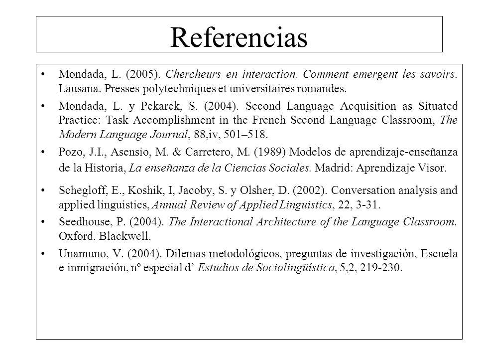 Referencias Mondada, L. (2005). Chercheurs en interaction. Comment emergent les savoirs. Lausana. Presses polytechniques et universitaires romandes.