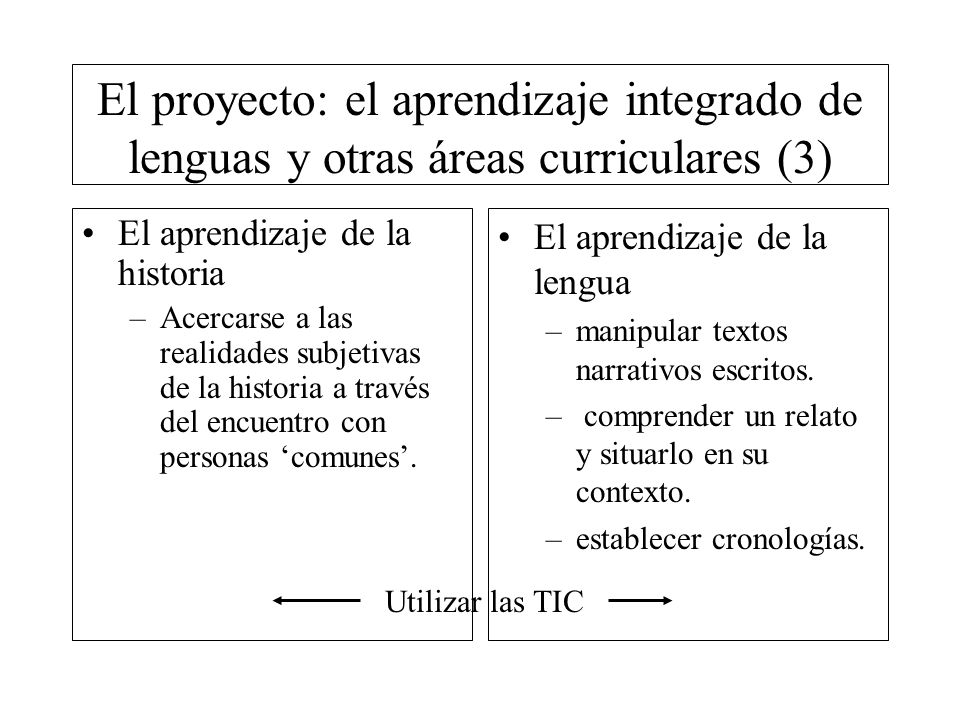 El proyecto: el aprendizaje integrado de lenguas y otras áreas curriculares (3)