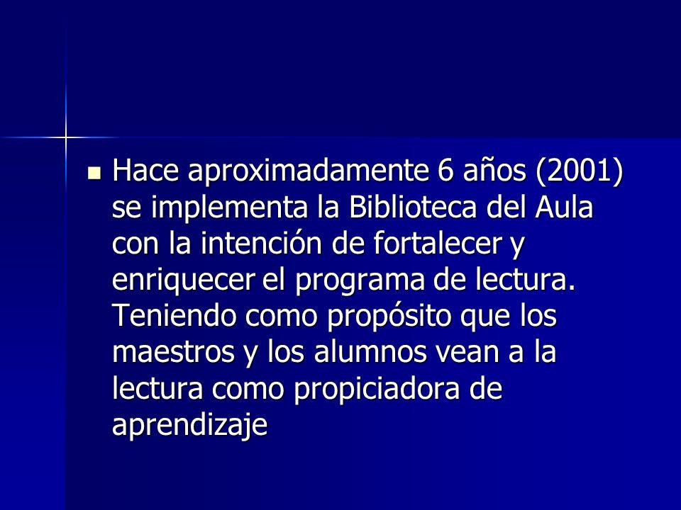 Hace aproximadamente 6 años (2001) se implementa la Biblioteca del Aula con la intención de fortalecer y enriquecer el programa de lectura.