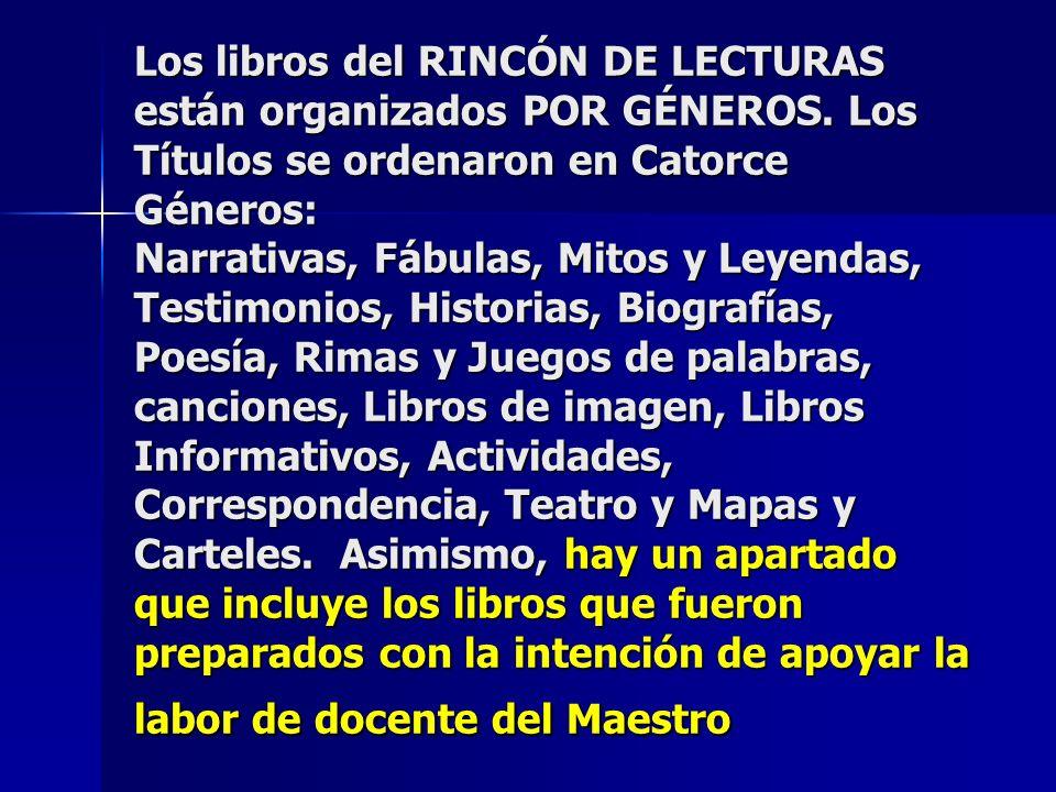 Los libros del RINCÓN DE LECTURAS están organizados POR GÉNEROS