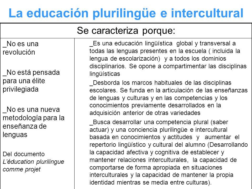 La educación plurilingüe e intercultural