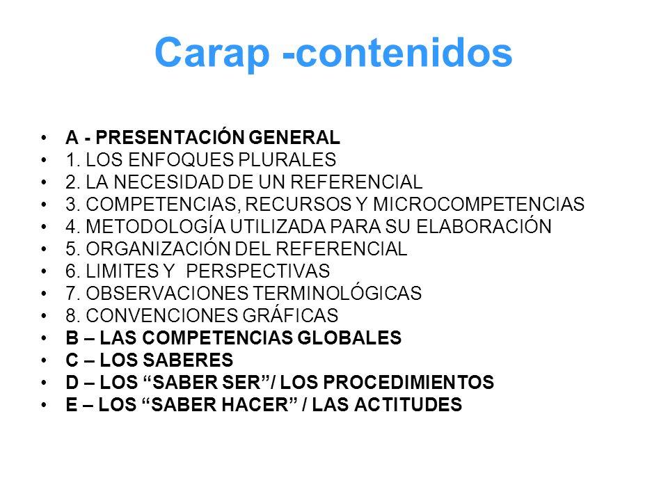 Carap -contenidos A - PRESENTACIÓN GENERAL 1. LOS ENFOQUES PLURALES
