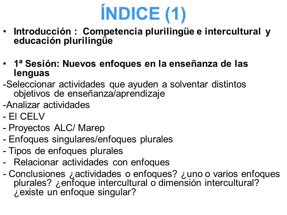 ÍNDICE (1) Introducción : Competencia plurilingüe e intercultural y educación plurilingüe.