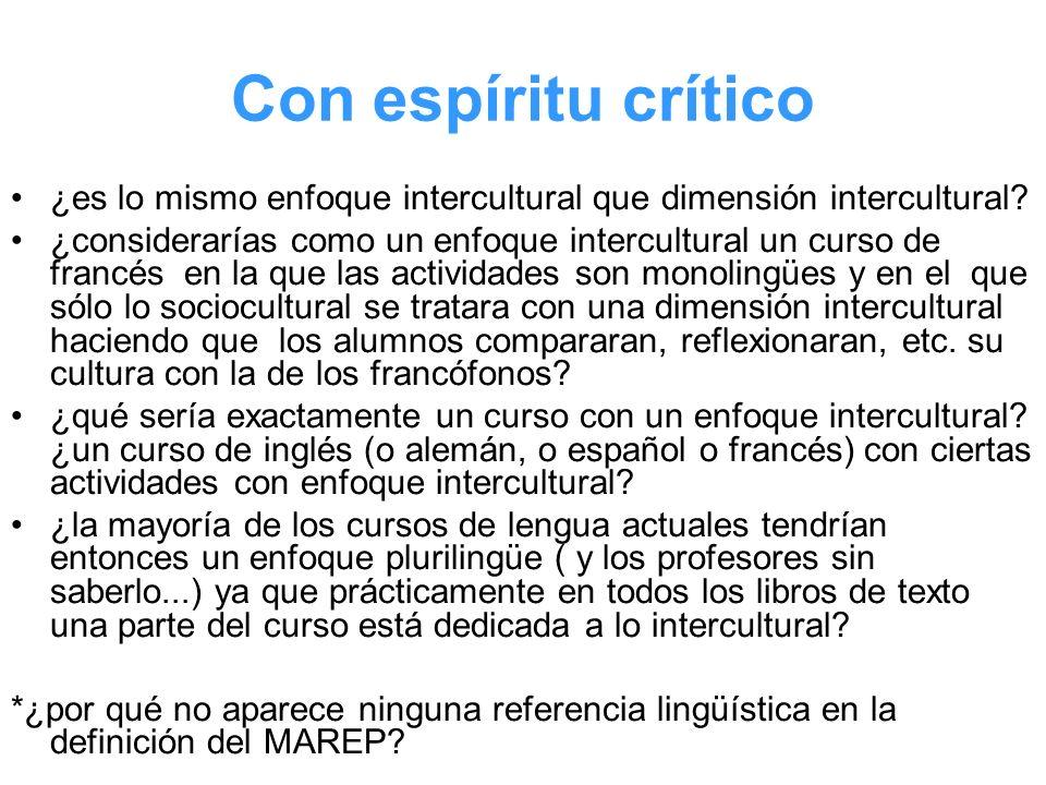 Con espíritu crítico ¿es lo mismo enfoque intercultural que dimensión intercultural