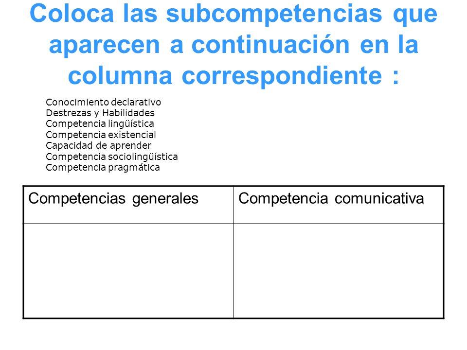 Coloca las subcompetencias que aparecen a continuación en la columna correspondiente :