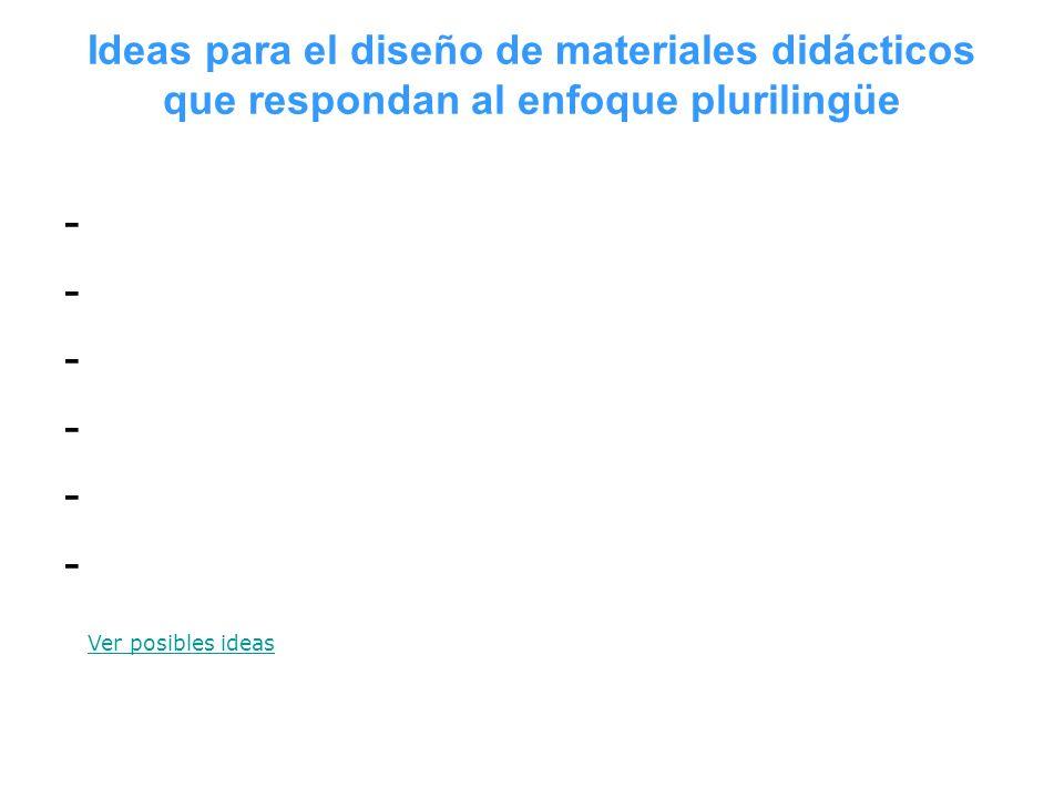 Ideas para el diseño de materiales didácticos que respondan al enfoque plurilingüe