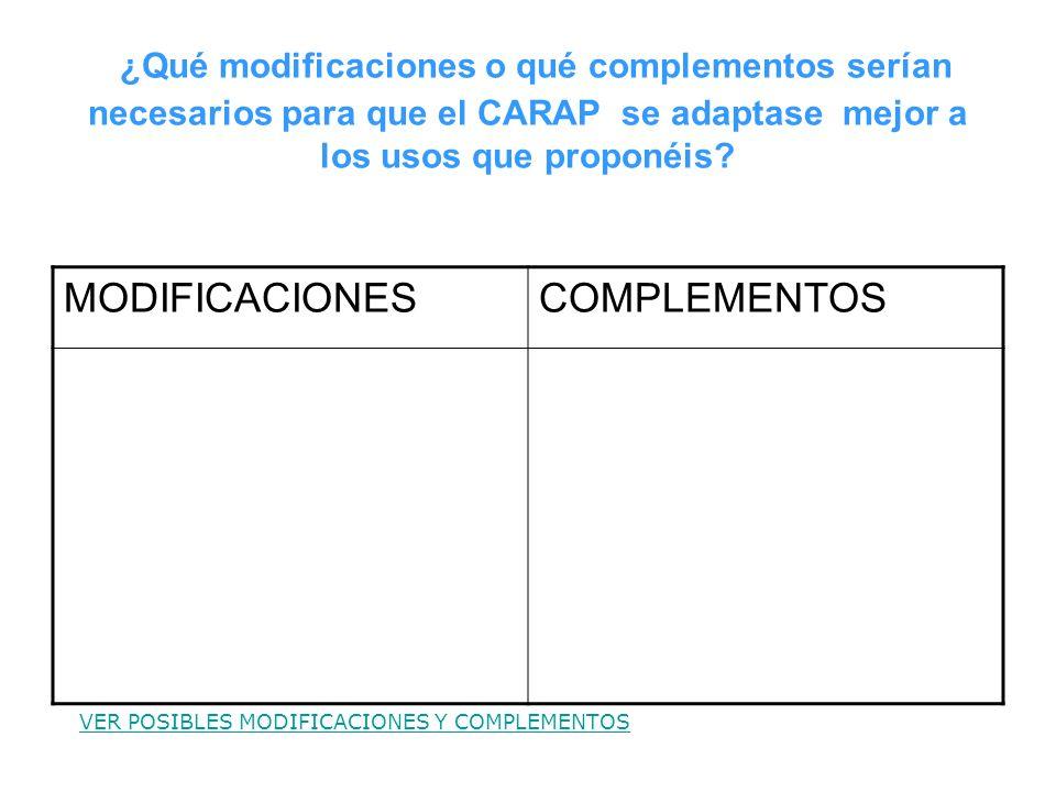 ¿Qué modificaciones o qué complementos serían necesarios para que el CARAP se adaptase mejor a los usos que proponéis