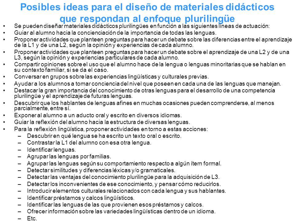 Posibles ideas para el diseño de materiales didácticos que respondan al enfoque plurilingüe