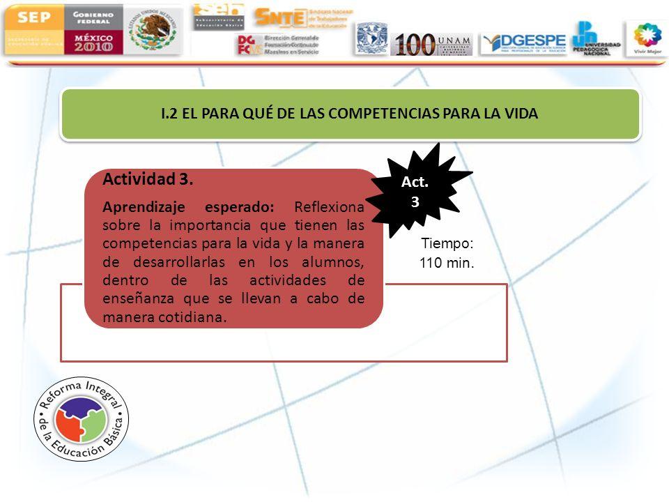 I.2 EL PARA QUÉ DE LAS COMPETENCIAS PARA LA VIDA