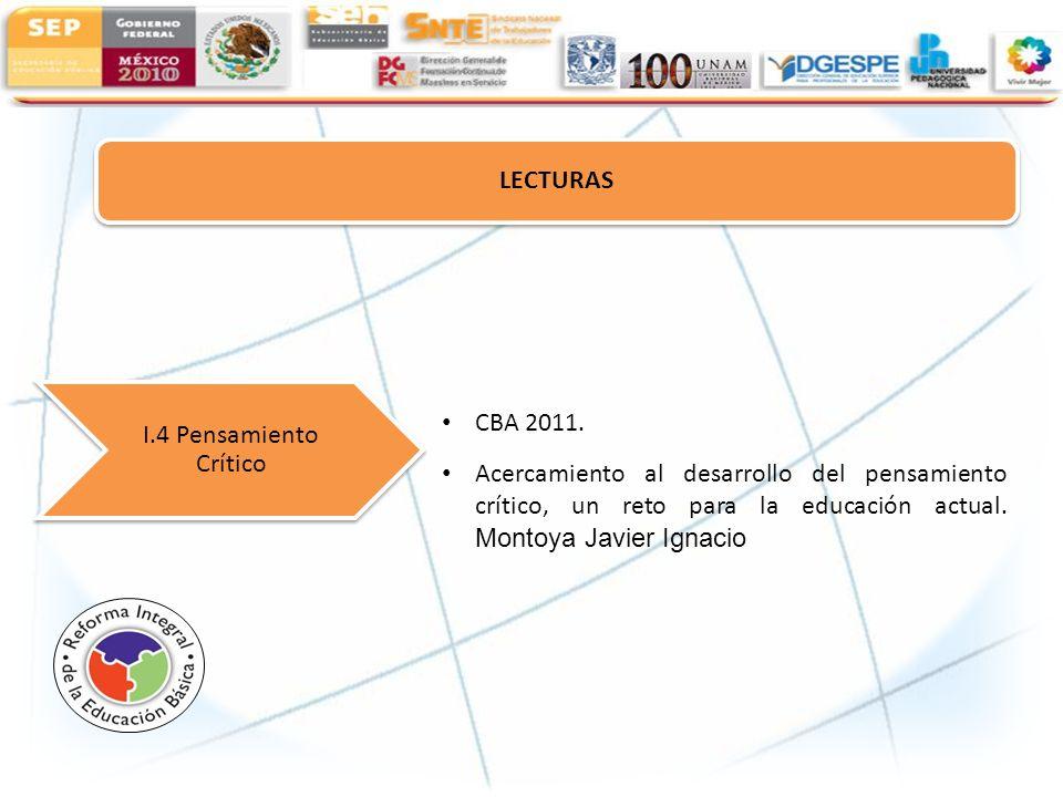 LECTURAS I.4 Pensamiento Crítico. CBA 2011.