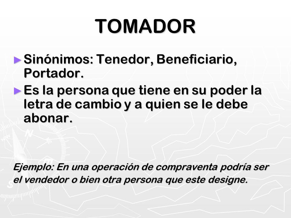 TOMADOR Sinónimos: Tenedor, Beneficiario, Portador.