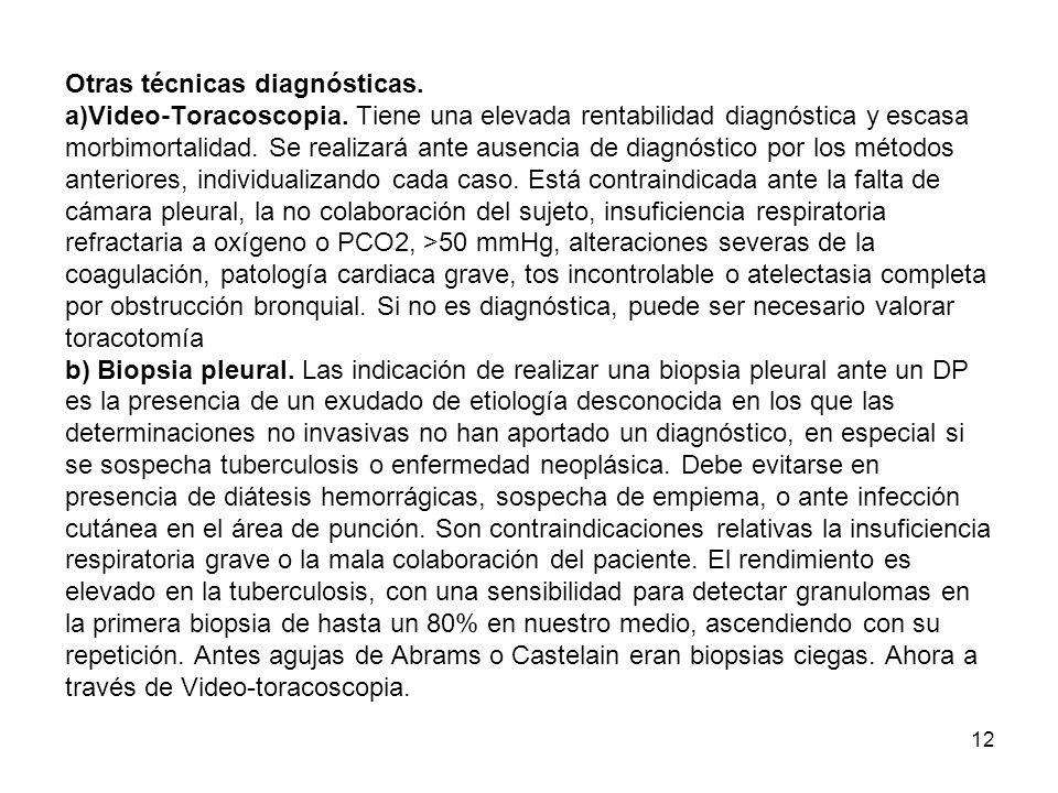 Otras técnicas diagnósticas. a)Video-Toracoscopia