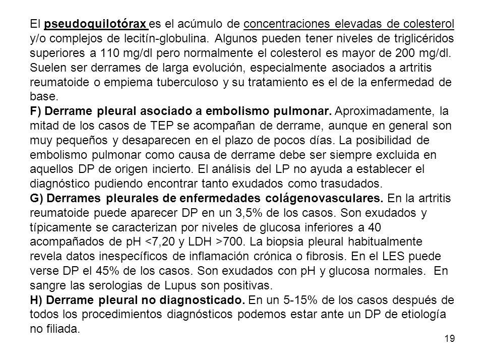 El pseudoquilotórax es el acúmulo de concentraciones elevadas de colesterol y/o complejos de lecitín-globulina.