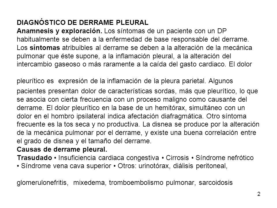 DIAGNÓSTICO DE DERRAME PLEURAL Anamnesis y exploración