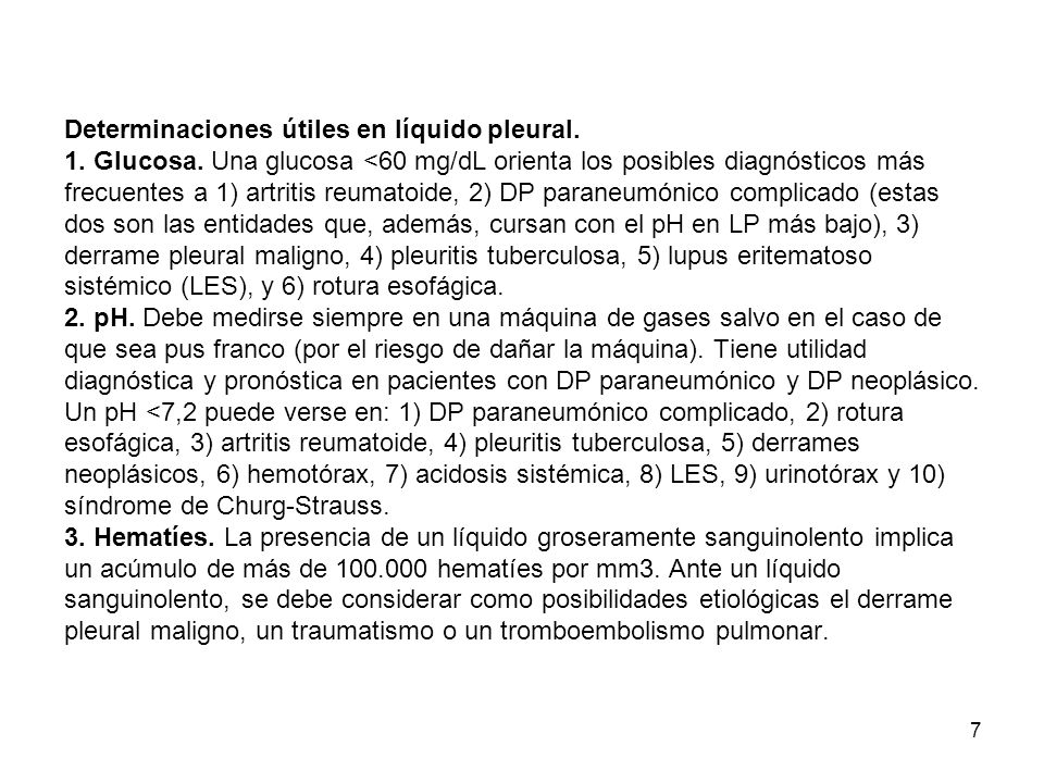 Determinaciones útiles en líquido pleural. 1. Glucosa