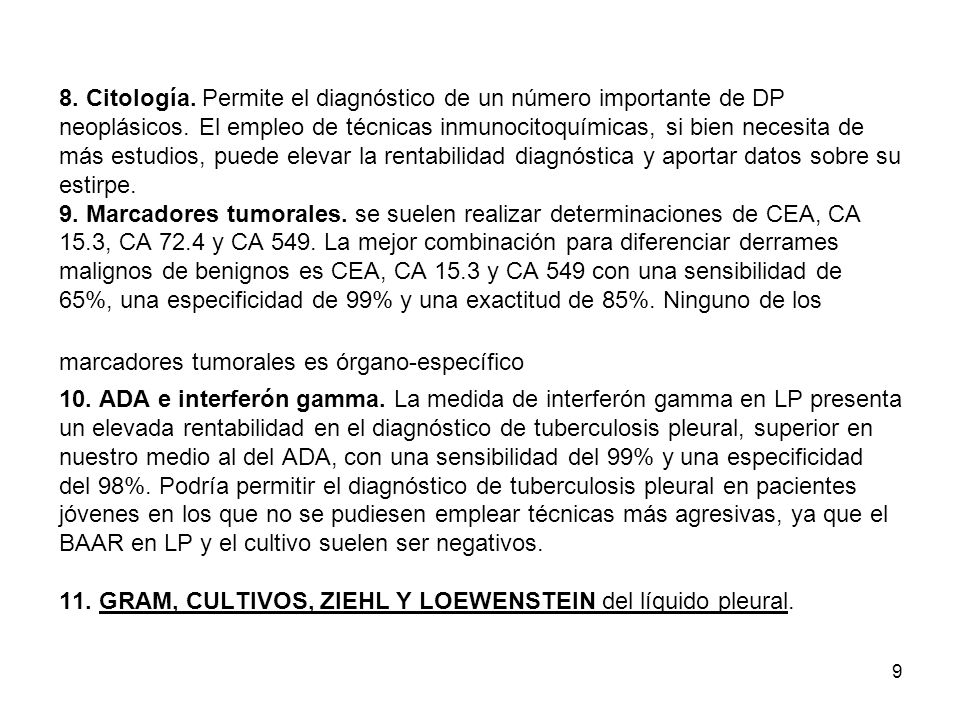 8. Citología. Permite el diagnóstico de un número importante de DP neoplásicos.