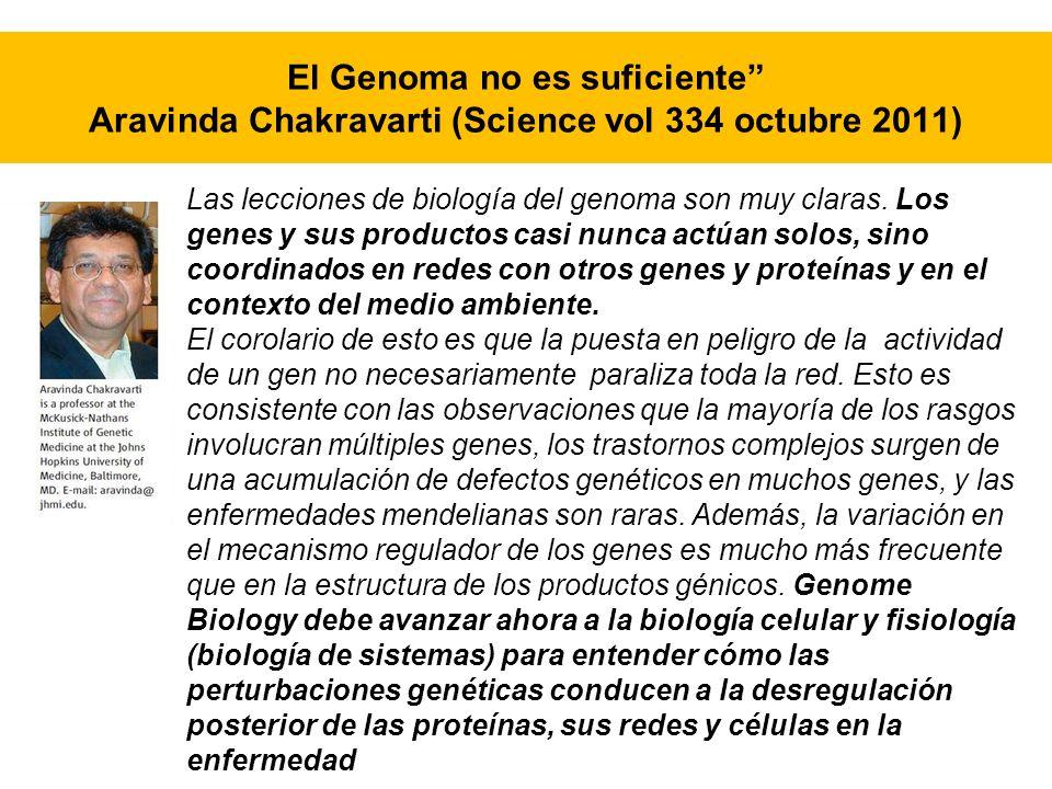 El Genoma no es suficiente Aravinda Chakravarti (Science vol 334 octubre 2011)