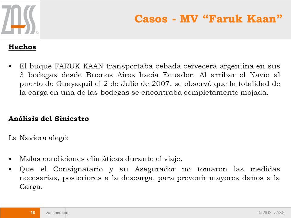 Casos - MV Faruk Kaan Hechos