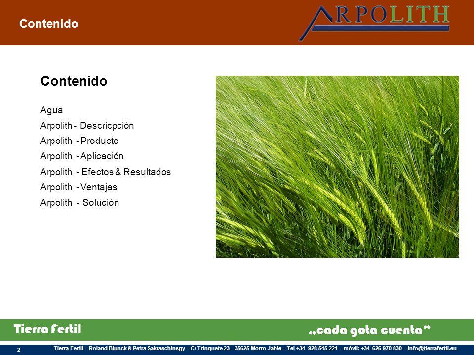Contenido Contenido Agua Arpolith - Descricpción Arpolith - Producto